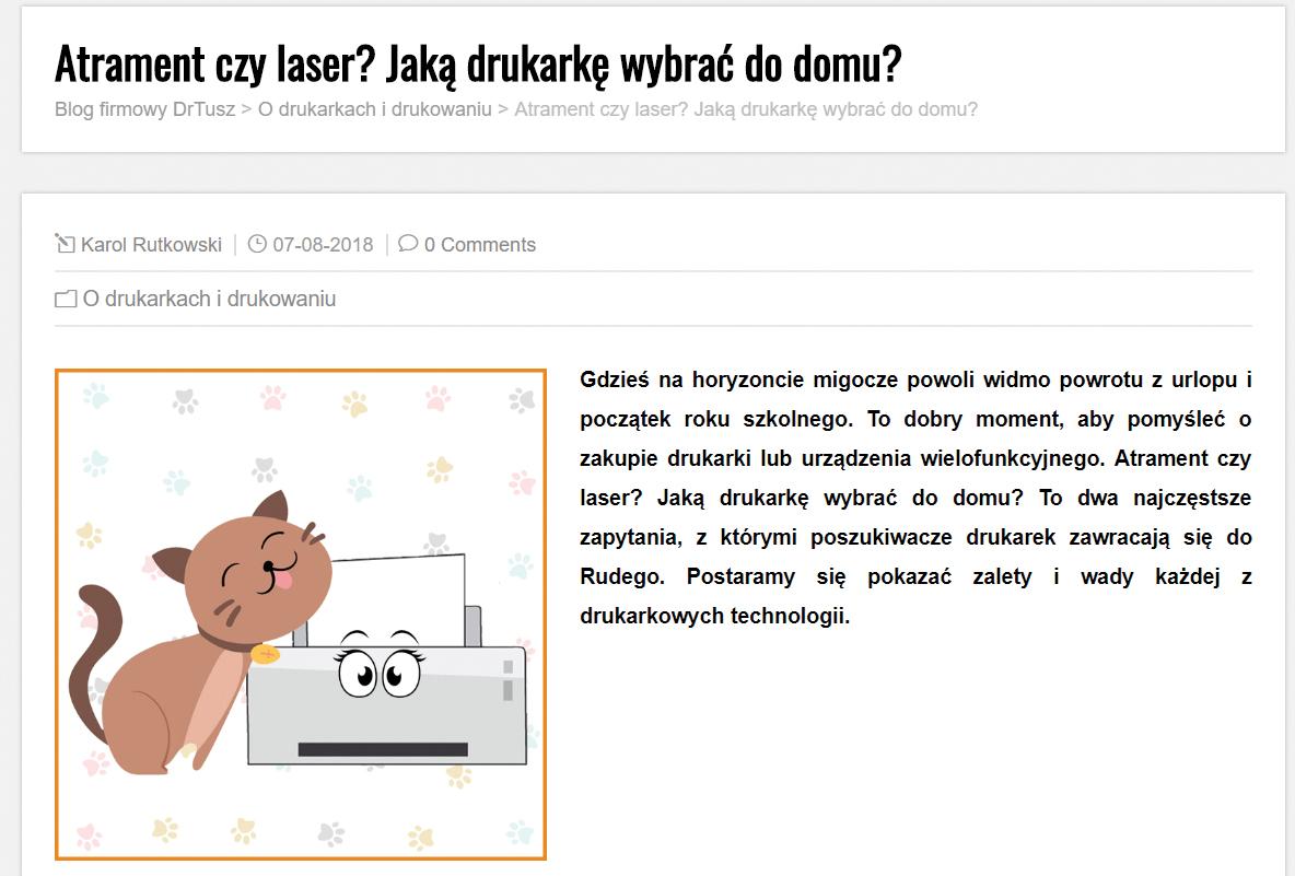 Fragment strony dr.tusz z grafiką kotka przy drukarce oraz wstępem do artykułu