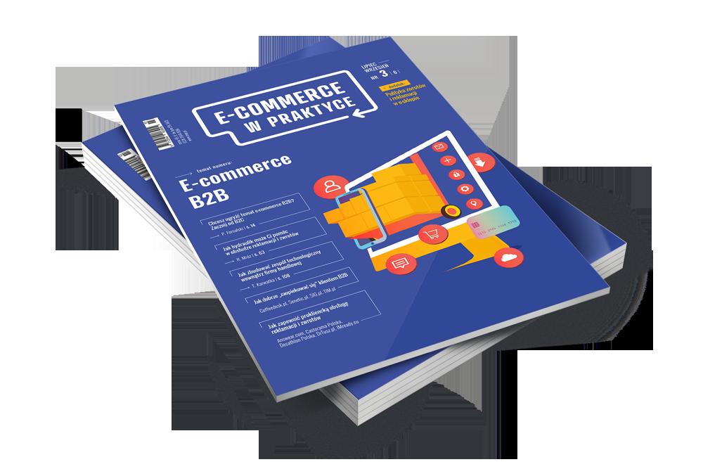 Fioletowa okładka z pomarańczowymi elementami wychodzącymi z ekranu komputera: E-commerce b2b nowy numer 3(6)2019