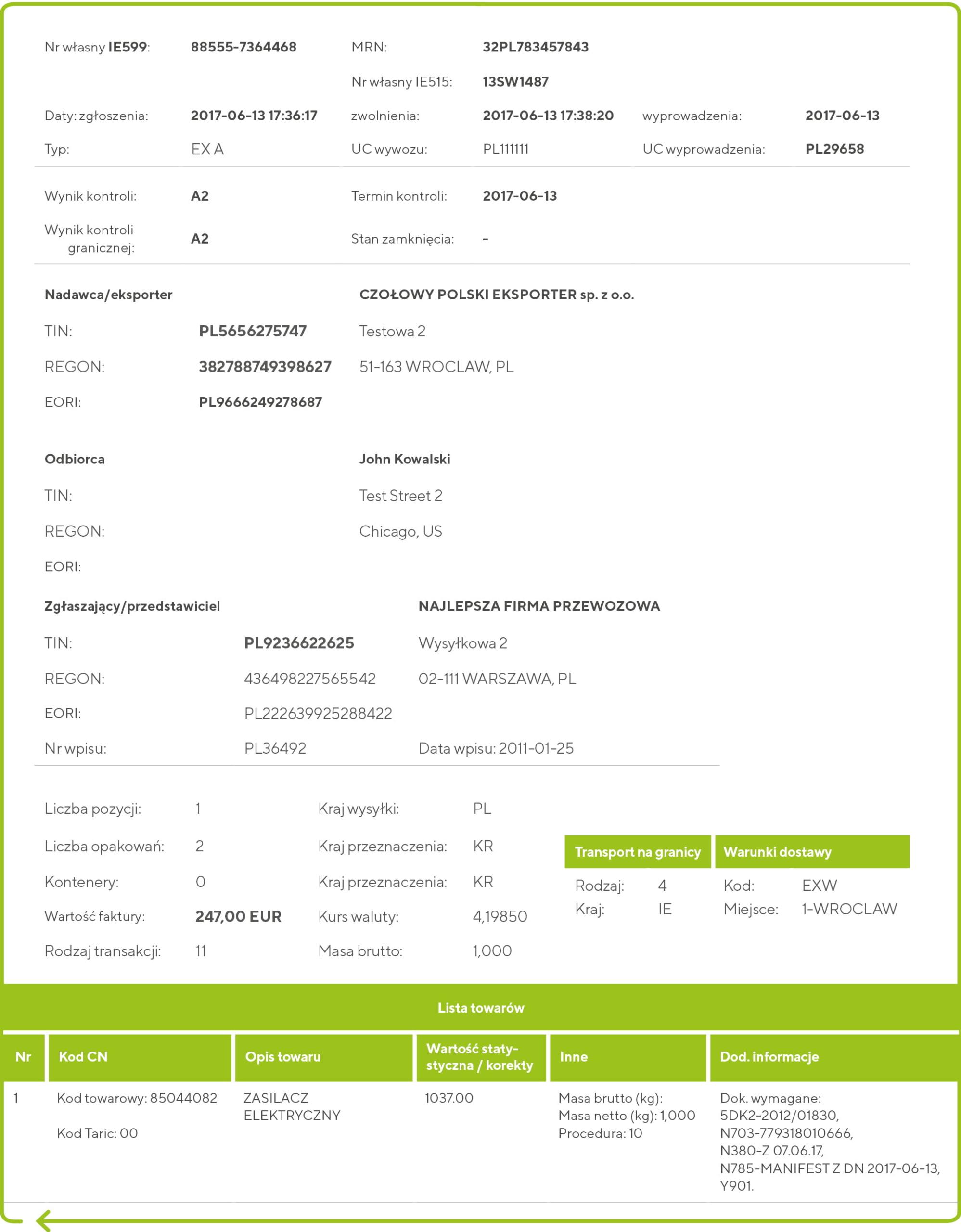 Przykład potwierdzenia wywozu towaru IE-599
