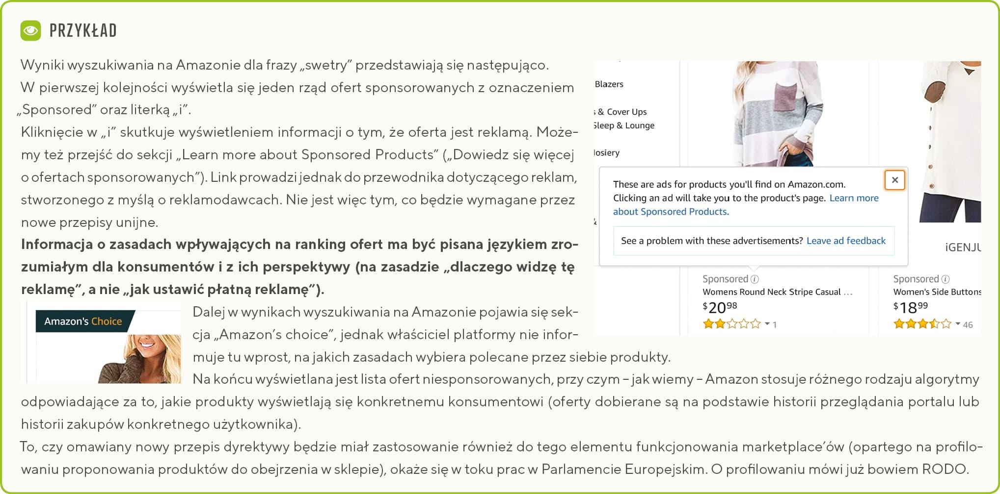 Komunikaty o płatnej reklamie w marketplace Amazon