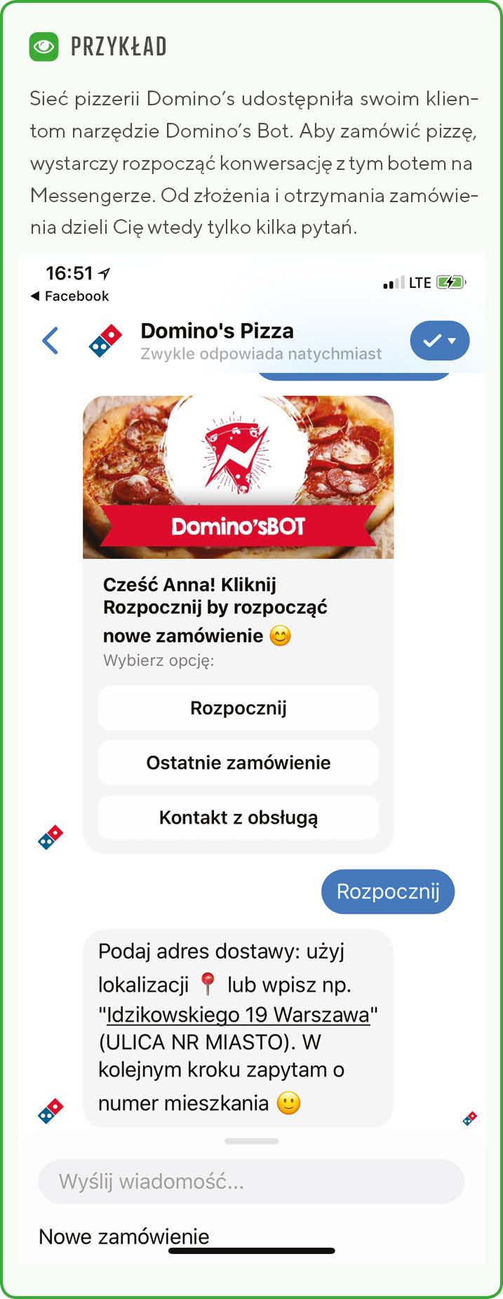 Przykład wykorzystania chatbota w omnichannel na przykładzie okienka messenger