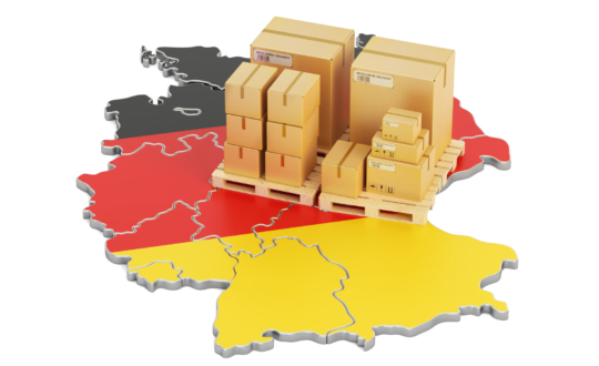 Shipping and Delivery from Germany isolated on white background